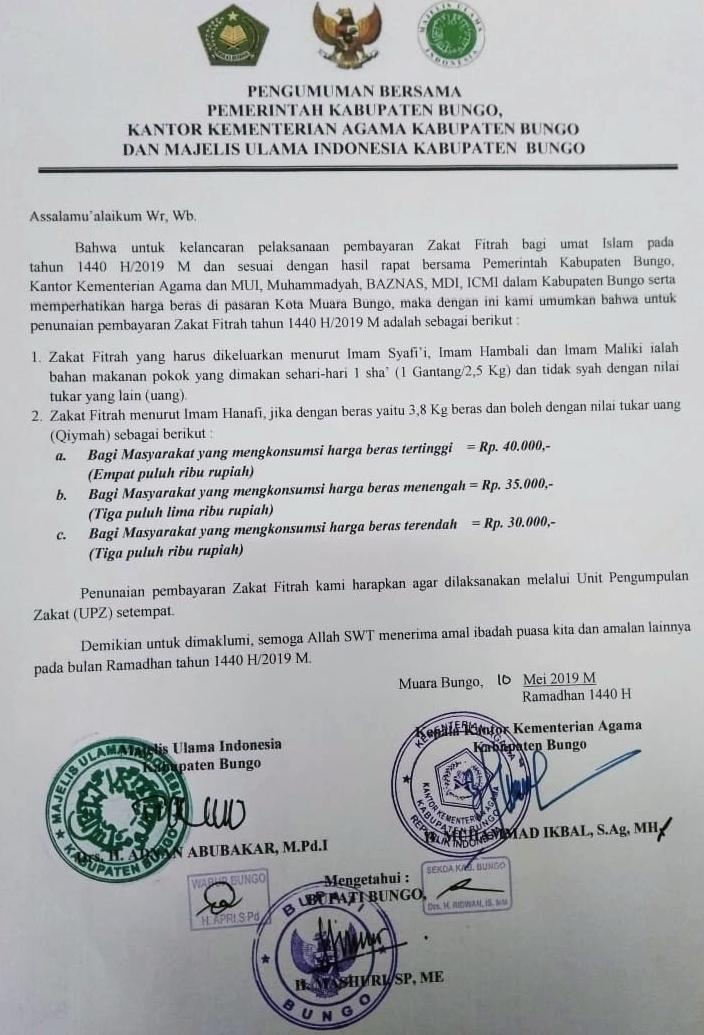 Pengumuman Tentang Zakat Fitrah Tahun 1440 H 2019 M Pemerintah Kabupaten Bungo Bungokab Go Id